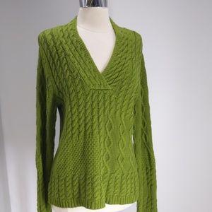Relativity textured green v-neck pullover-sz L